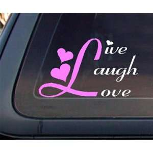 Live Laugh Love Car Decal / Sticker   White & Light Pink