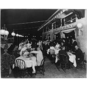 Night scene Renos Restaurant,sidewalk cafe,c1912: Home