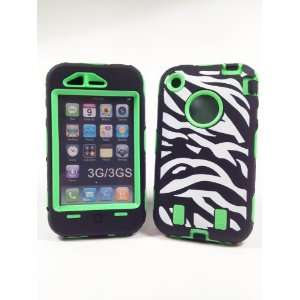 Armored Core Zebra White/Black Print Case with Lime Green