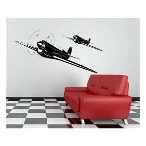 Vintage World War 2 Airplane Repositionable Wall Decal Vinyl Aviation