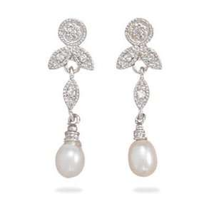 Rhodium Plated Sterling Silver CZ/White Cultured Freshwater Pearl