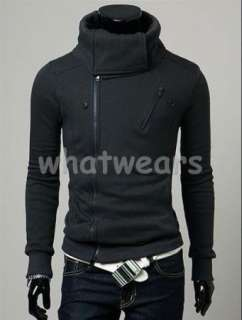Mens Double Zip Design Slim Stand collar Hoodie W77