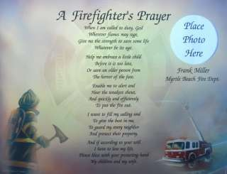 Firefighters Prayer Personalized Poem Fireman Gift