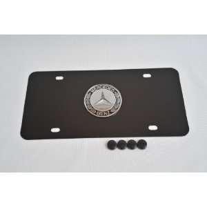 Mercedes Benz 3D Logo on Black steel License Plate