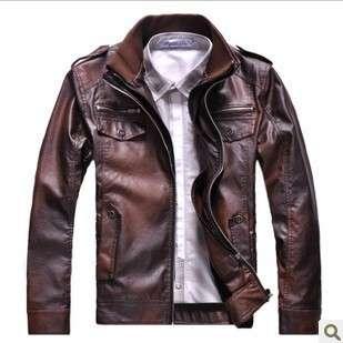 Mens Slim Designed Faux Leather Short Jacket M L XL XXL Retro red