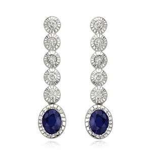 14K White Gold Oval Blue Sapphire & Bezel Set Diamond Dangle Earrings