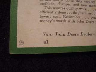 RARE 1961 JOHN DEERE 1010 TRACTOR OPER MANUAL VERY 1st