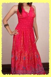 Hippie Gypsy Boho retro Long Tiered Dress MAXI S/M/L