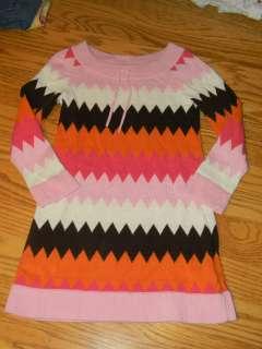 Gap Kids pink brown orange zig zag sweater dress 6 7