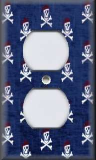 Light Switch Plate Cover   Pirate Skull And Crossbones Blue Background
