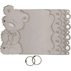 Fabscraps Die Cut Grey Chipboard Album, Teddy Bear: Arts