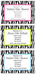 Zebra Print Safari Baby Shower/Birthday Invitation