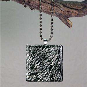 Rock Star ZEBRA Animal Print~Large Square Glass Pendant Art Necklace