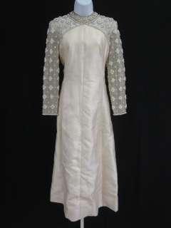 VINTAGE DESIGNER Pink Beaded Long Sleeve Dress Sz M
