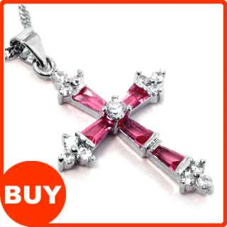 Cross Cut Red Ruby White Gold GP Women Fashion Jewelry Pendant