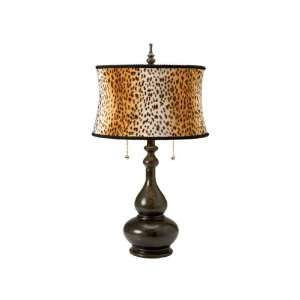 Genie Bottle Table Lamp With Animal Print Shade Pack O