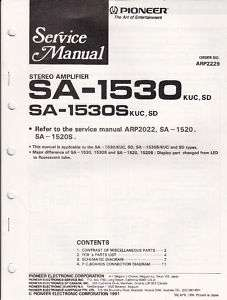 Original Pioneer SA 1530 S Amplifier Service Manual