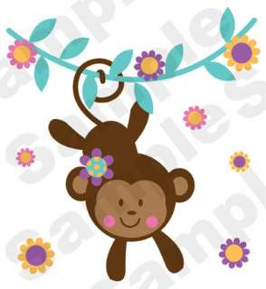 JUNGLE GIRL MONKEY SAFARI BABY NURSERY FLORAL PINK WALL MURAL STICKERS