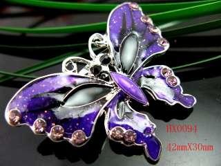 purple butterfly Rhinestone Crystal&Enamel brooch HX0094