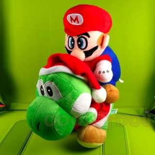 New Super Mario Bros Xmas Yoshi+Mario Plush Doll Toy