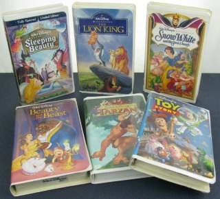 Lot 6 Disney Princess VHS Kids Movies Tapes Toy Story
