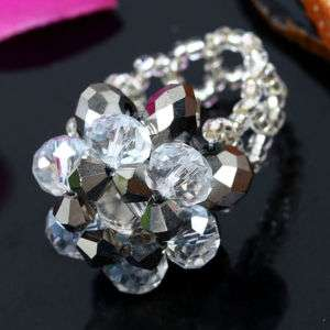 1P SILVER CRYSTAL GLASS FACETED BEAD FINGER RING SIZE#7