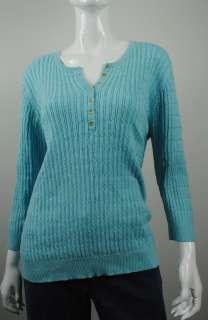 S0282 VT01 NEW WOMENS HENLEY BLUE KAREN SCOTT SWEATER XL