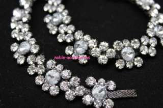 costume applique diamante rhinestone crystal silver chain trim 1y