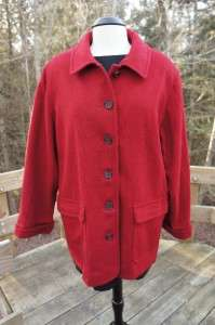 Used ALFRED DUNNER Womens 100% WOOL Coat Size 14 R RED Made in USA