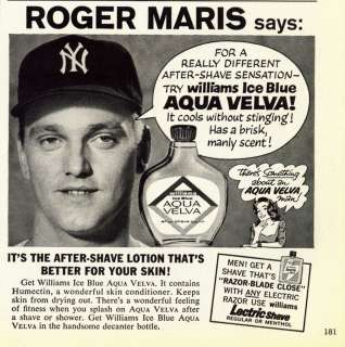 After Shave Lotion ad ~ Roger Maris ~ N.Y. Yankee ~ Baseball