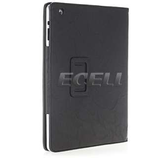 BLACK LEATHER FOLIO CASE STAND WITH CREDIT CARD HOLDERS POCKETS FOR