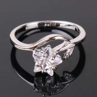 Classic 18K white gold filled swarovski crystal star engegament ring