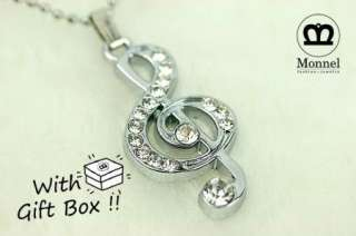 F53 Cute Music Note Charm Pendant Necklace (+Gift Box)
