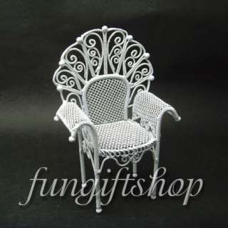Dollhouse Miniature White Wire Garden Table and Chair X