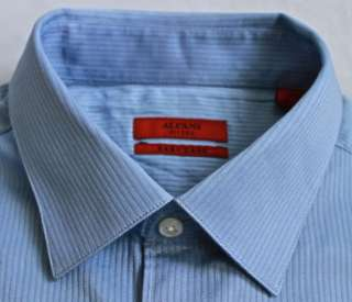 ALFANI Dress Shirt BLUE Texture STRIPE 16.5 x 34 35 FIT
