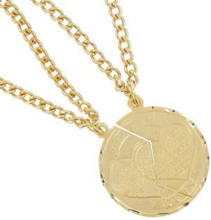New Mizpah Coin Pendant Necklace Best Friends Genesis Fancy Cut Gold