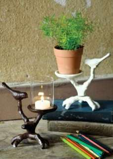 Bird on Branch CANDLE HOLDER White Plant Stand Aviary