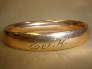 VICTORIAN ANTIQUE GOLD FILLED GF HINGED BANGLE BRACELET Engraved 29g