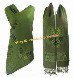 Double face Pashmina/Wool Shawl Wraps Green WPS 02
