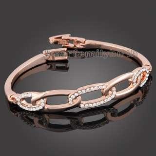 Fashion 18K Rose gold GP swarovski crystal bangle 318