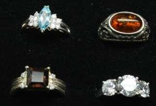 36 Sterling Silver Gemstone Rings Lot Not Scap Jewelry Vintage Modern