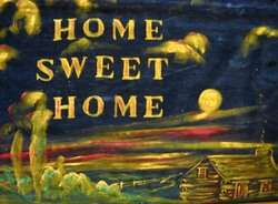 OLD HOME SWEET HOME CABIN HAND PAINTED WALL TEXTILE ART