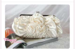 3748 Ivory Satin Flower Bridal/Wedding/Party Handbag
