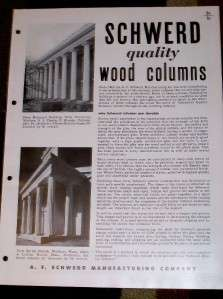 Vtg A.F Schwerd Manufacturing Co Catalog Wood Columns