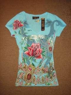 Platinum Rhinestone Christian Audigier Women Shirt Knit Top Ed Hardy