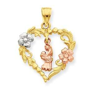 14k Two Tone & Rhodium Mother & Child In Heart Pendant