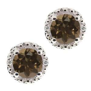 62 Ct Round Brown Smoky Quartz and White Topaz 18k White Gold Earrings
