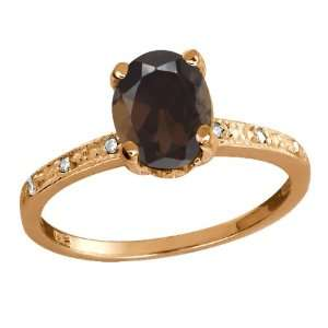 1.24 Ct Oval Brown Smoky Quartz and Topaz Rose Gold Plated
