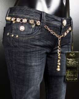 NWT Womens LA IDOL Skinny Jeans GOLD ACCENTS with Gold Belt 1665NR