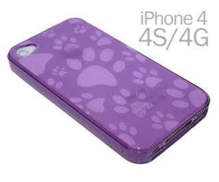 IPHONE 4 4G 4S SOFT GEL TPU CASE COVER CUTE DOG PAW FOOT PRINTS